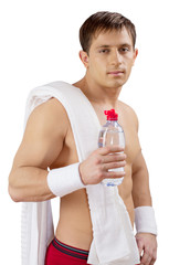 young sportsman with bottle of water isolated