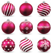 Set of realistic magenta christmas balls.