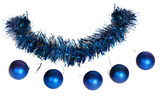 Five blue christmas balls as a bead on the tinsel