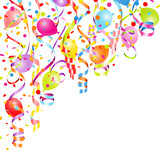 Background Colored Streamers, Confetti & Balloons