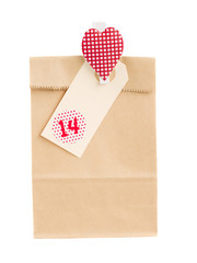 paper bag with gift for valentines day