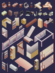set of office isometric