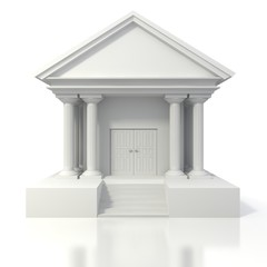3d icon of vintage bank building on white background