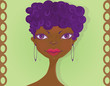 African-American girl with afro hairstyle and hoop earrings