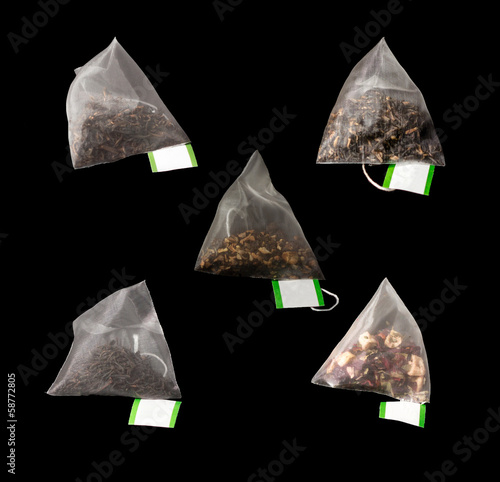 5 Luxury Pyramid Teabags isolated on Black