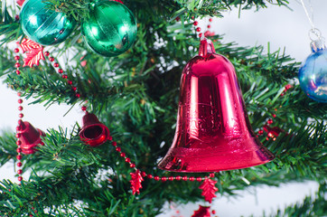 Red jingle bell on the branch of spruce