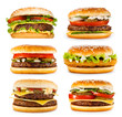 canvas print picture - set of various hamburgers