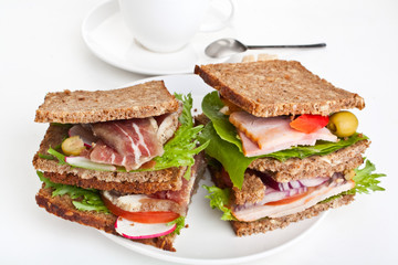 whole grain bread sandwiches with pork, poultry and