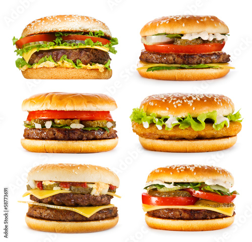 canvas print picture set of various hamburgers