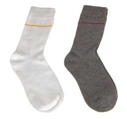 white and grey socks isolated on white