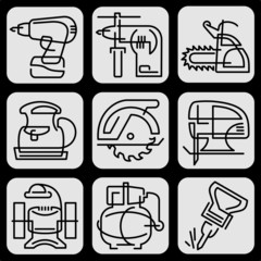 set tools icons line