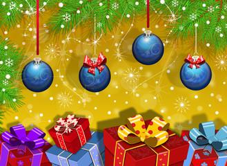 Новогодний векторный фон.Шарики,подарки,ёлка.