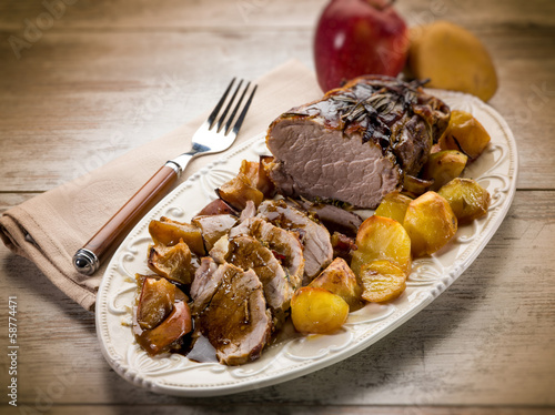 roast  with potatoes and apple, selective focus