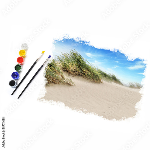beautiful landscape and brushes