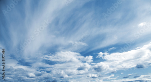 Natural blue cloudy sky panoramic background texture