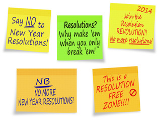 New Year Resolutions, no thanks - assorted messages