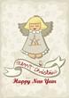 śpiewający anioł świąteczna ilustracja z życzeniami