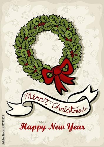 zielony wieniec z kokardą świąteczna ilustracja z życzeniami