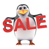 Cute penguin holds a Sale
