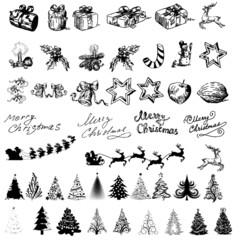 christmas icons buttons vektor silhouette