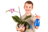 kid is watering the flowers poster