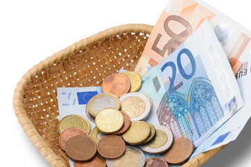 Basket with Euros Money