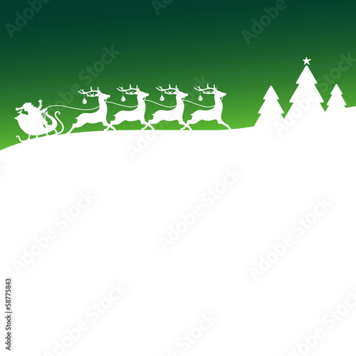 Christmas Sleigh Forest Green