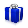 Geschenk, Geschenkpaket, eingepackt, Paket, Silber, Blau, 3D