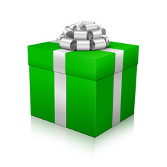 Geschenk, Geschenkpaket, eingepackt, Paket, Silber, Grün, 3D