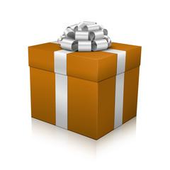 Geschenk, Geschenkpaket, eingepackt, Paket, Silber, Ocker, 3D