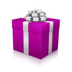 Geschenk, Geschenkpaket, eingepackt, Paket, Silber, Violett, 3D