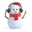 Santa snowman listens on headphones