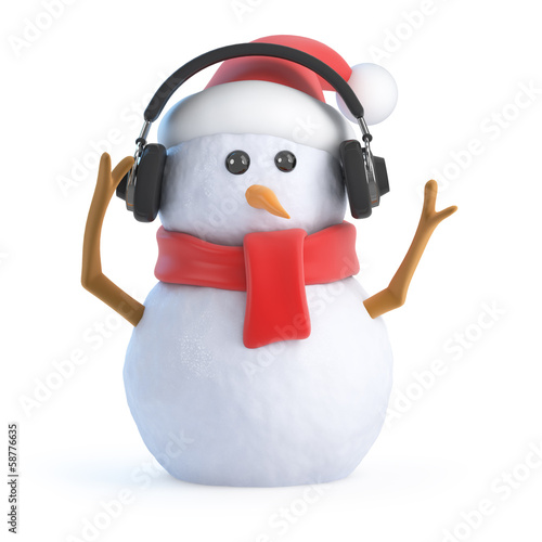 Santa snowman listens on headphones