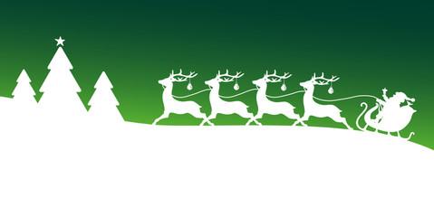 Card Christmas Sleigh Forest Green