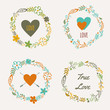 Vector set of colorful floral frames