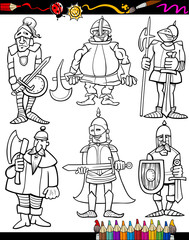 Knights Cartoon Set for coloring book