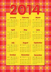Tartan scottish style calendar 2014