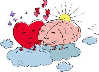 Heart and brain embrace each other with love