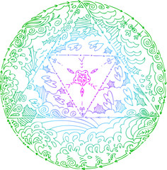 Mandala about elements earth, water and air