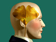 golden Ginkgo biloba leaf inside a mans head