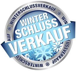 """Button Banner """"Winterschlussverkauf"""" blau/silber"""