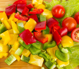 Fresh peppers cuts