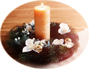 Candle in an Advent wreath, vignette white