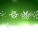 Vector green Christmas card bokeh snowflakes