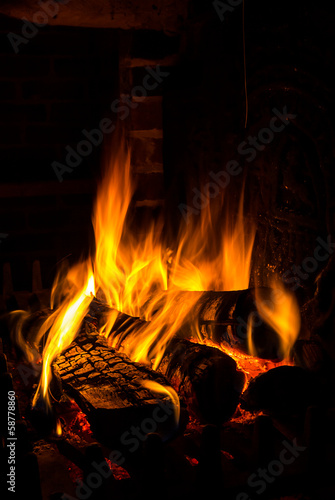 Staande foto Vuur / Vlam fire in a fireplace