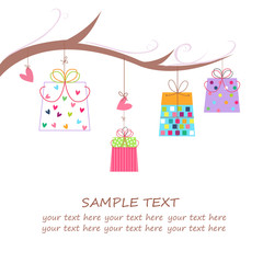 Gift boxes, hearts, flowers with tree branch greeting vector