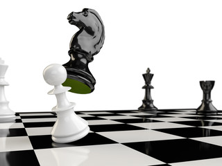 A chessboard with a horse, a pawn, a rook and two kings