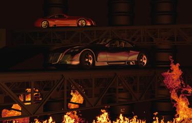 zwei Wagen im Feuer