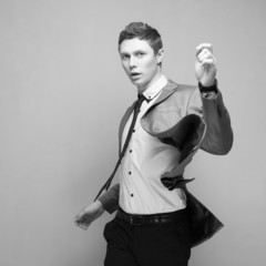 dynamic shot of Fashionable young male model