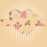 greeting card with flower pattern and hearts